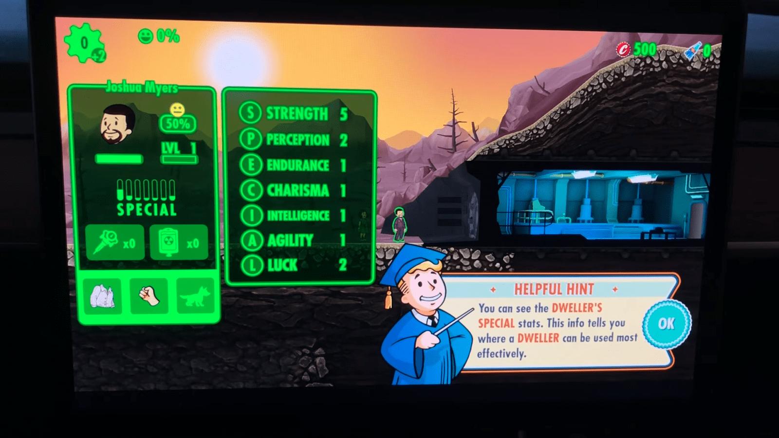Игра Fallout Shelter появилась в автомобилях Tesla (screenshot from 2020 05 23 13 19 38)