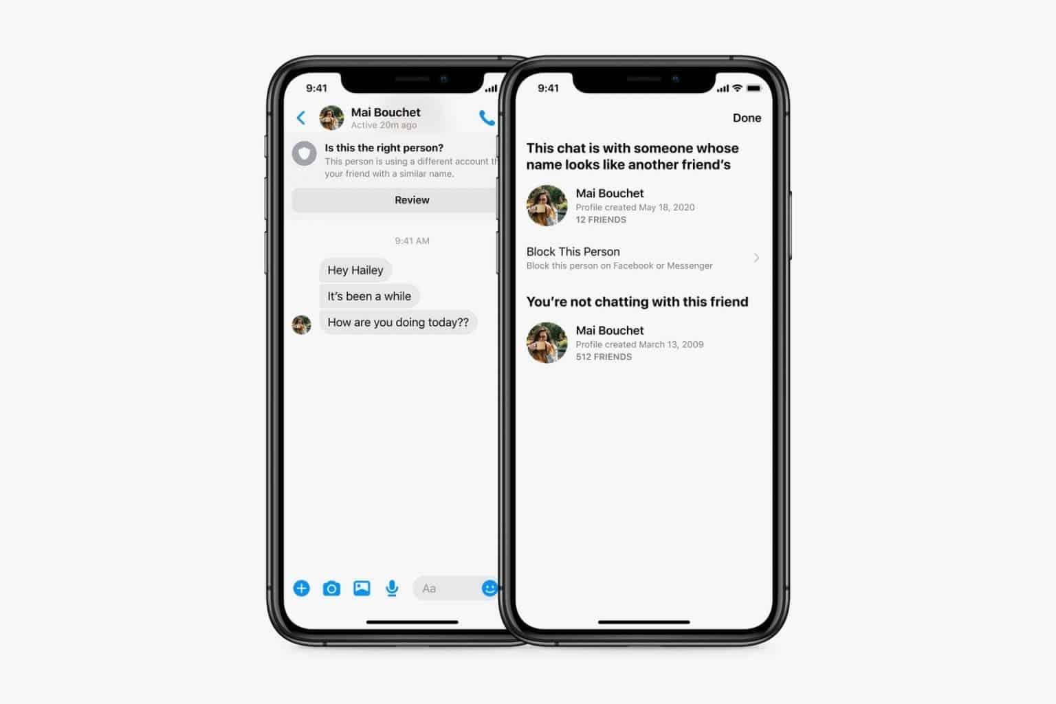 Facebook добавила в Messenger функцию запроса на общение от незнакомых пользователей (sec impersonation detection overlap large 1536x1024 1)