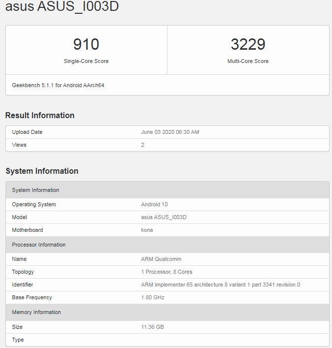 На Geekbench появился вариант смартфона ASUS ROG Phone 3 с 12 ГБ ОЗУ (asus rog phone 3 geekbench)