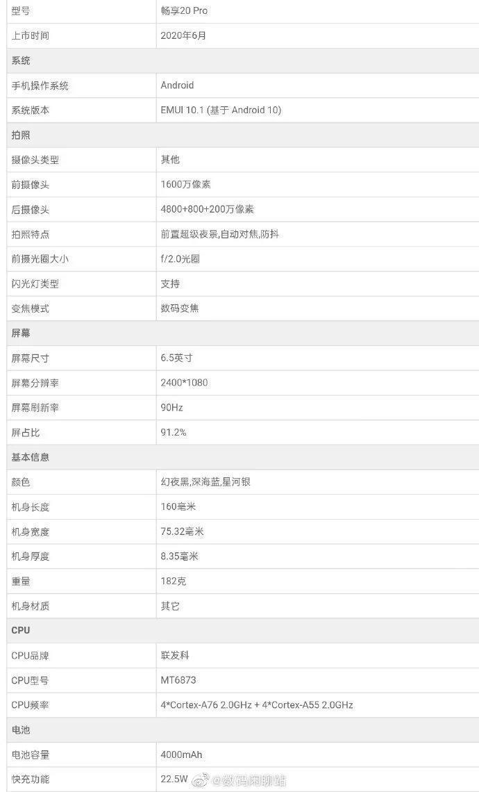 В сеть попали характеристики нового смартфона Huawei Enjoy 20 Pro (huawei enjoy 20 pro specs)