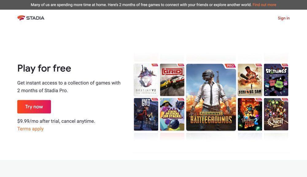 На сайте Google Stadia появились новые игры (stadia website old)