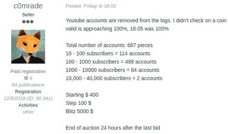 Сотни взломанных аккаунтов YouTube продают в Даркнете (yt6)