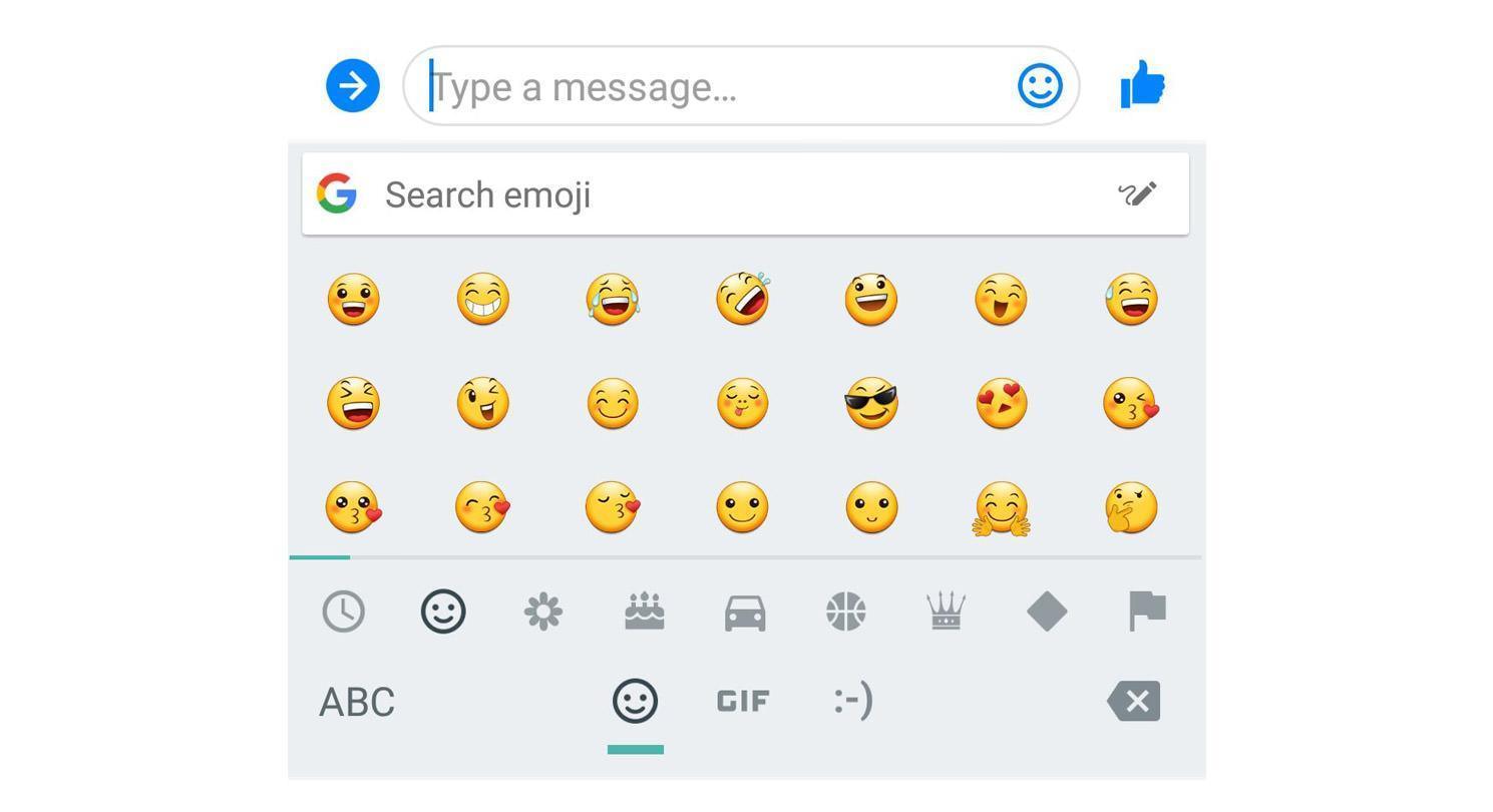 В клавиатуру GBoard добавили строку быстрого доступа к emoji (01 type a message)
