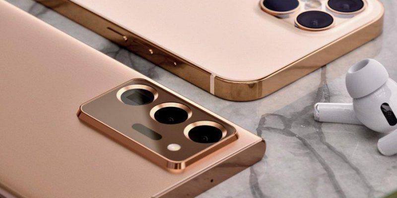 Samsung Galaxy Note20 Ultra и iPhone 12 Pro в золотом цвете появляются на рендерах (1)