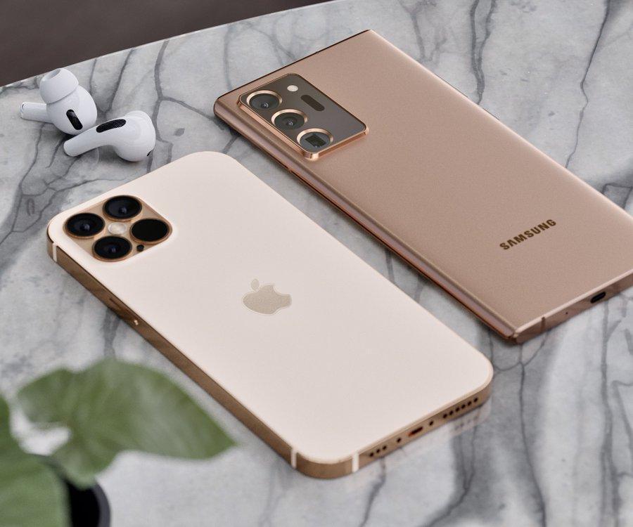 Samsung Galaxy Note20 Ultra и iPhone 12 Pro в золотом цвете появляются на рендерах (eb9yuedu8aafmhb)