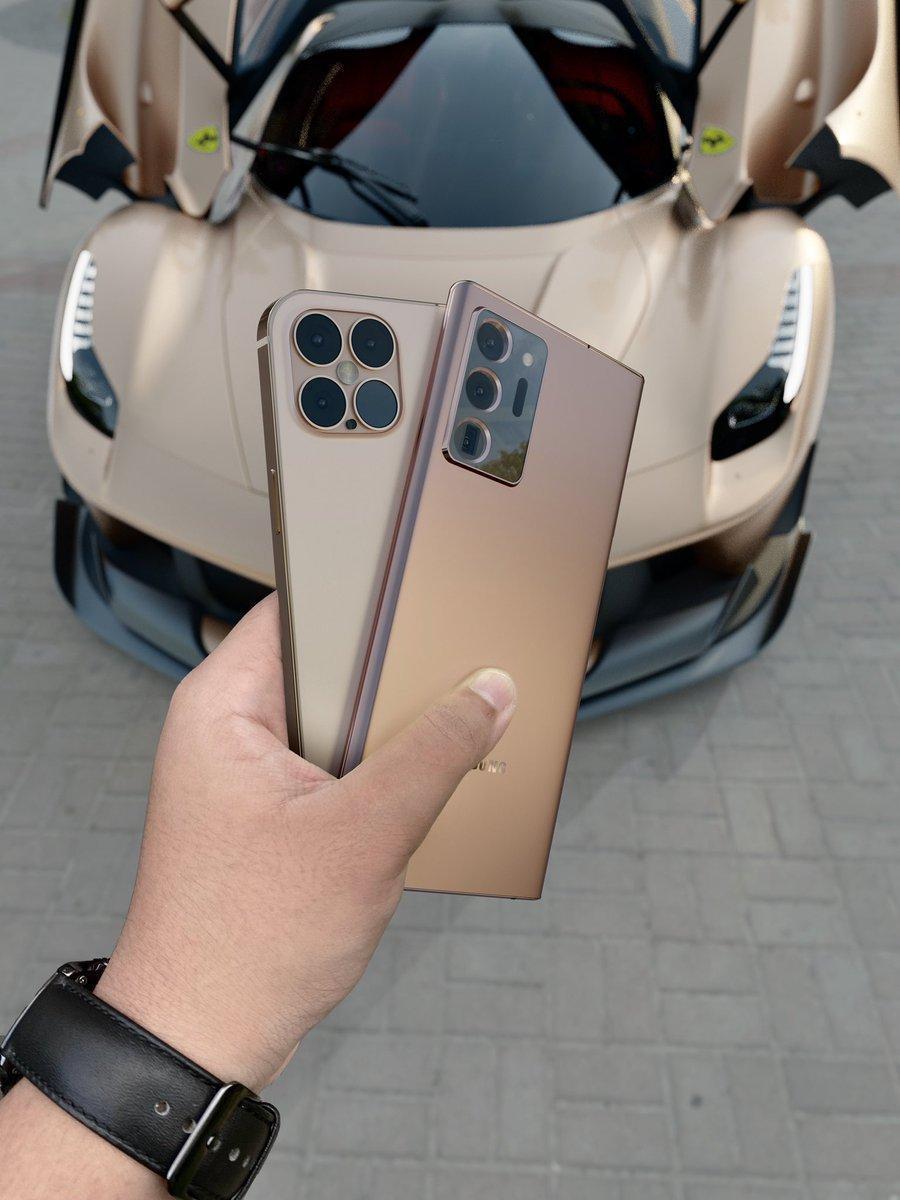 Samsung Galaxy Note20 Ultra и iPhone 12 Pro в золотом цвете появляются на рендерах ()