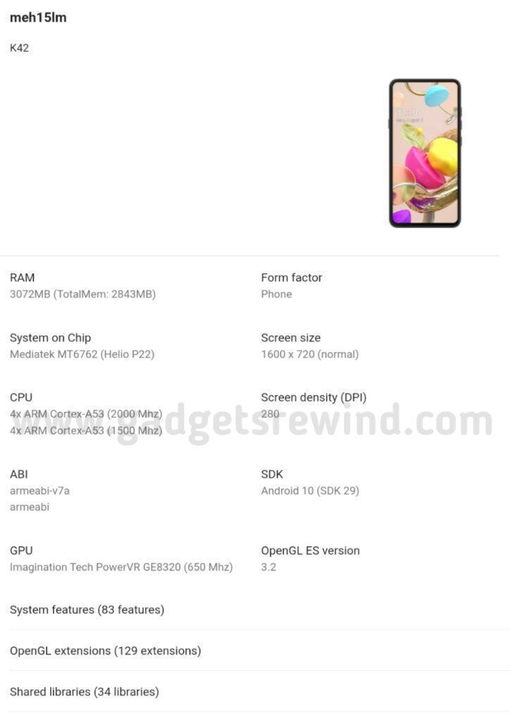 Новый смартфон LG K42 с чипсетом Helio P22 обнаружили в консоли Google Play (lg k42 2)