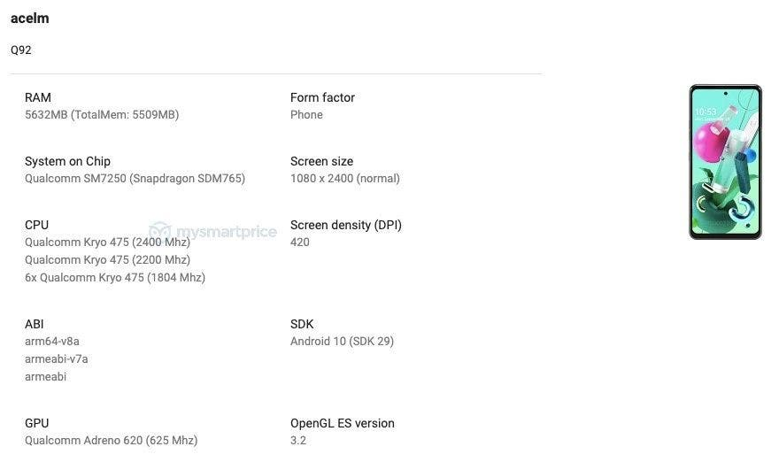 Новый смартфон LG Q92 получит Snapdragon 765G и 6 ГБ оперативной памяти (lg q92 5g google play console)