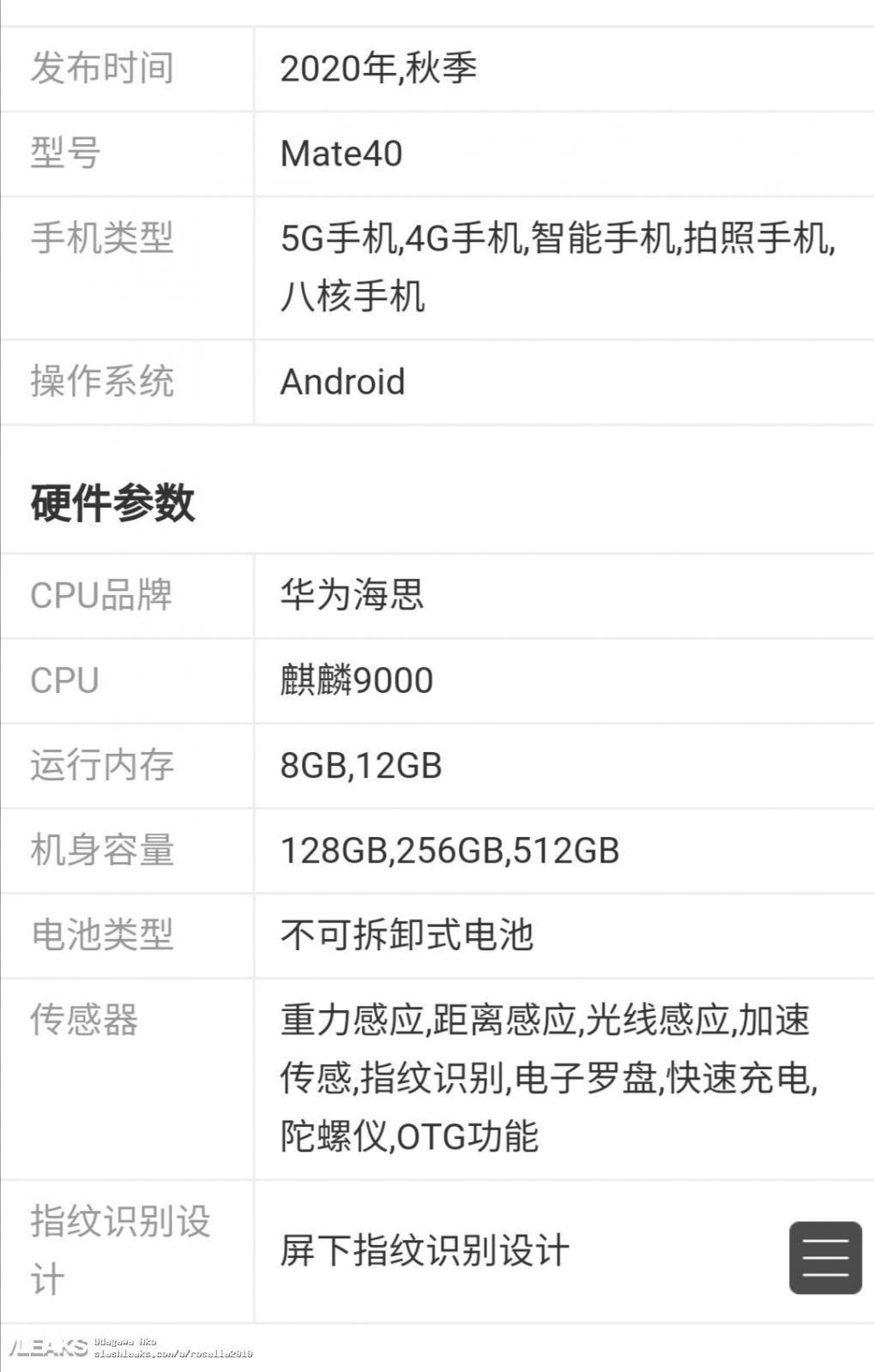 Опубликованы характеристики флагмана Huawei Mate 40 (huawei mate 40 some specs)