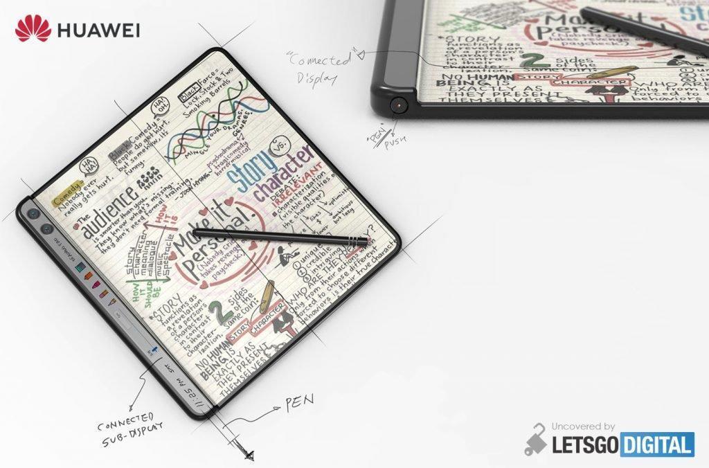 Huawei запатентовала складной смартфон со стилусом и вспомогательным дисплеем (huawei opvouwbare telefoon styluspen 1024x676 1)