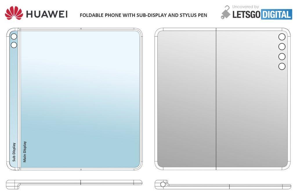 Huawei запатентовала складной смартфон со стилусом и вспомогательным дисплеем (opvouwbare telefoon sub display 1024x676 1)
