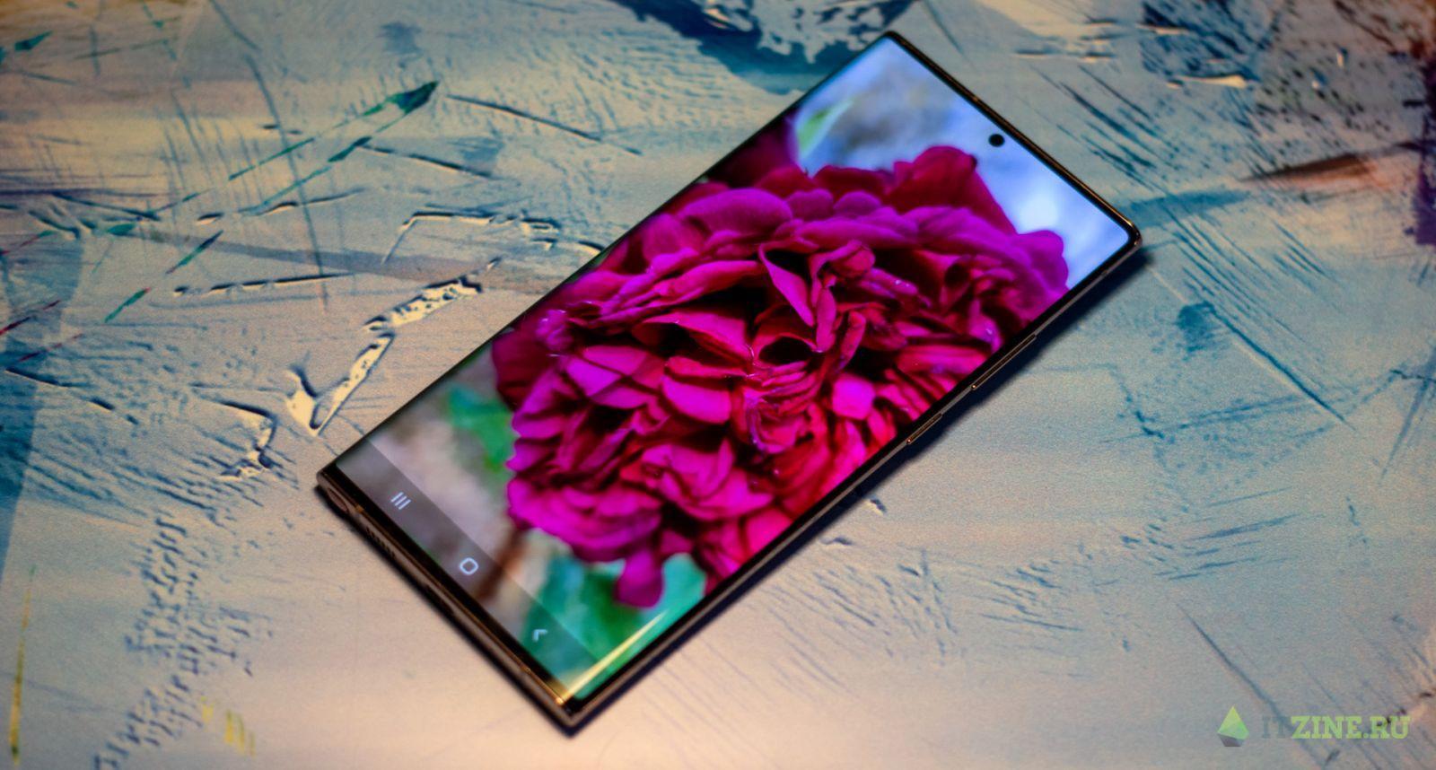 Фото цветов на экране Samsung Galaxy Note20 Ultra