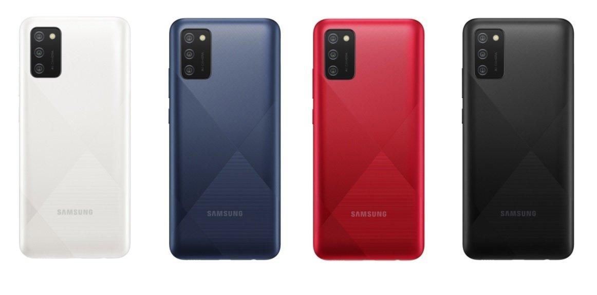 Samsung представила два смартфона с экранами Infinity-V и батареями на 5000 мАч (Galaxy A02s all colors)