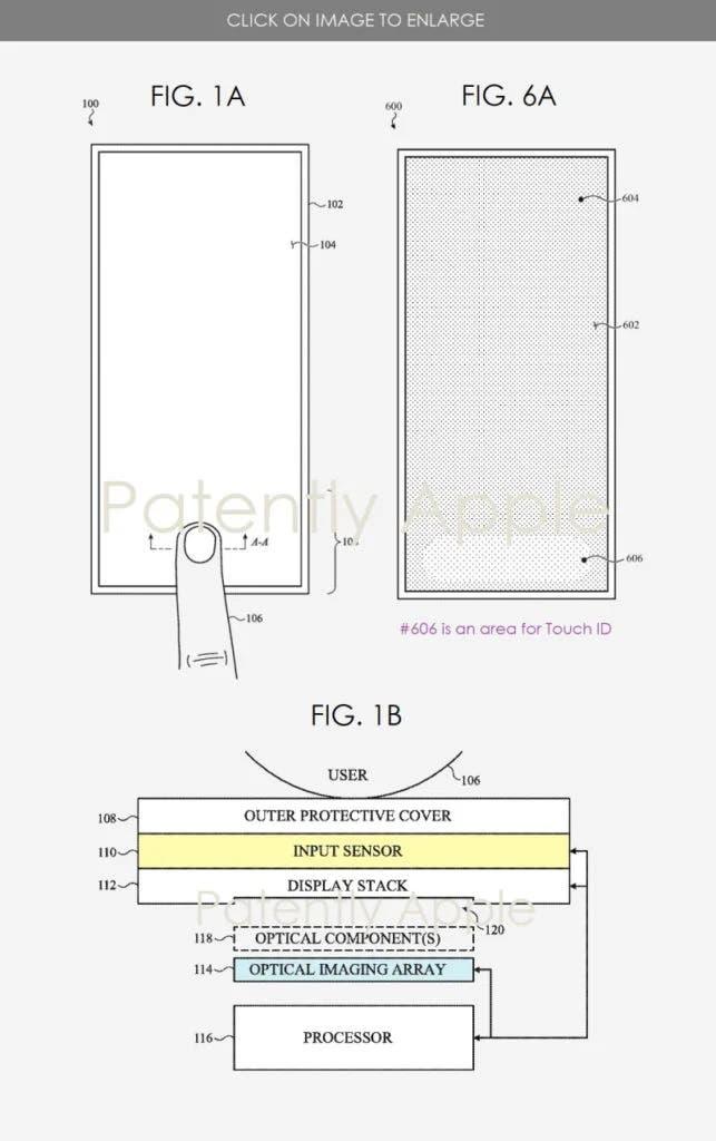Apple получила патент на экран со встроенным сканером отпечатков пальцев (apple patent 2)