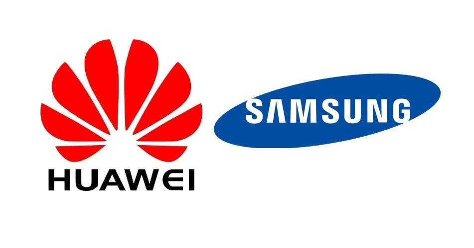 Samsung и Huawei - нынешние лидеры на рынке смартфонов 5G (logo huawei samsung)