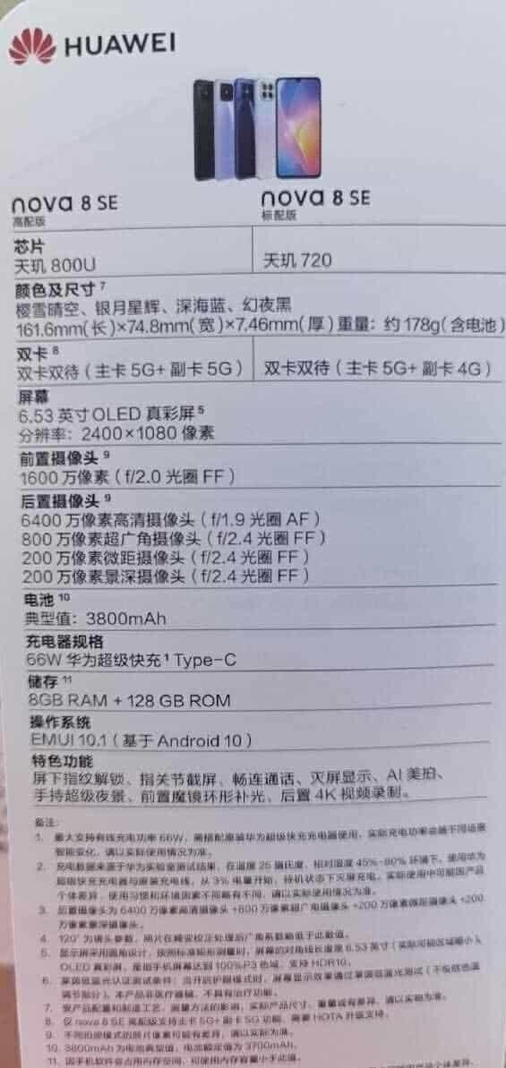 В сеть слили подробные характеристики смартфона Huawei Nova 8 SE (nova 8 se)