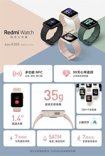 Представлены Redmi Watch: NFC, привлекательный дизайн и низкая цена (s 14561ecfa74047bfb5213e25059a5ea8)