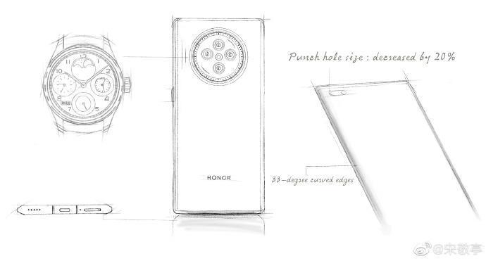 Камера Honor V40 будет похожа на циферблат часов (Honro V40 schematic)