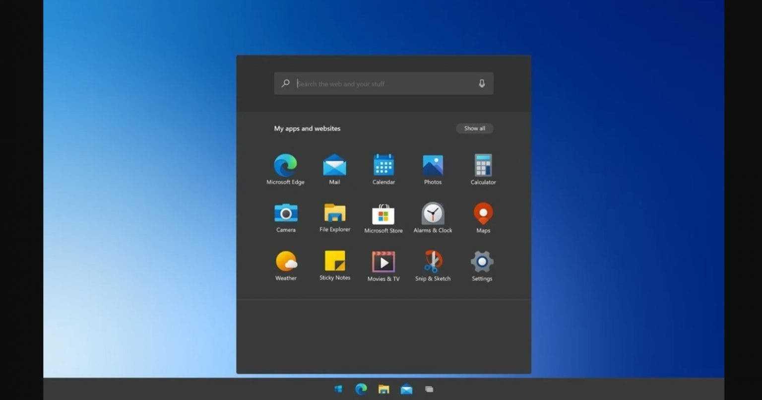 Windows 10X готова для бюджетных компьютеров (Windows 10X Start screen 1536x806 1)