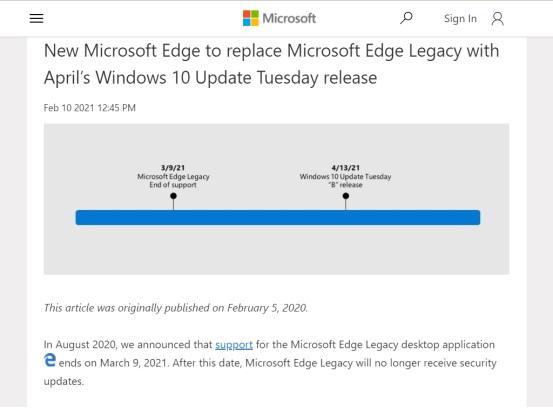 Microsoft полностью откажется от классической версии браузера Edge в следующем месяце