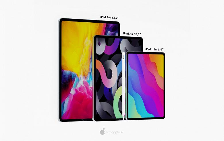 Apple iPad Mini Pro с 8,9-дюймовым дисплеем и Face ID позирует на качественных рендерах (2 large)