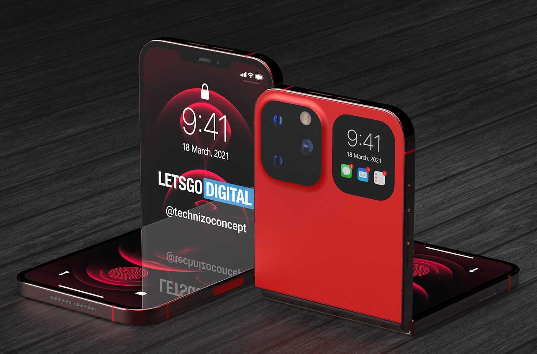 Красочные рендеры первого складного iPhone (iphone flip opvouwbare smartphone)