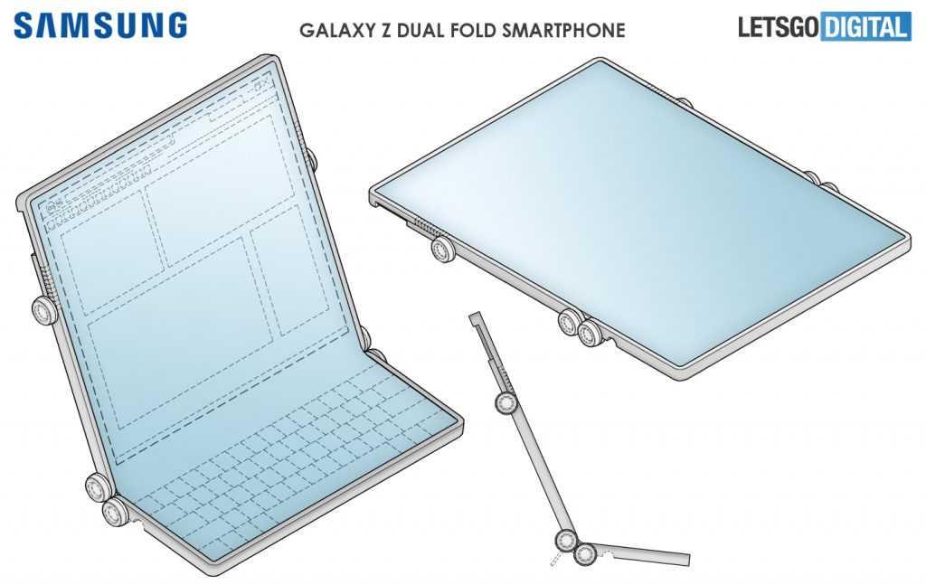 Ещё больше сгибов: Samsung представит смартфон, который складывает уже в двух местах (samsung double folding patent 3)