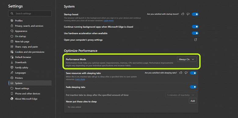 В Microsoft Edge появился особый производительный режим, которого ещё не было в Google Chrome (edge large 1)