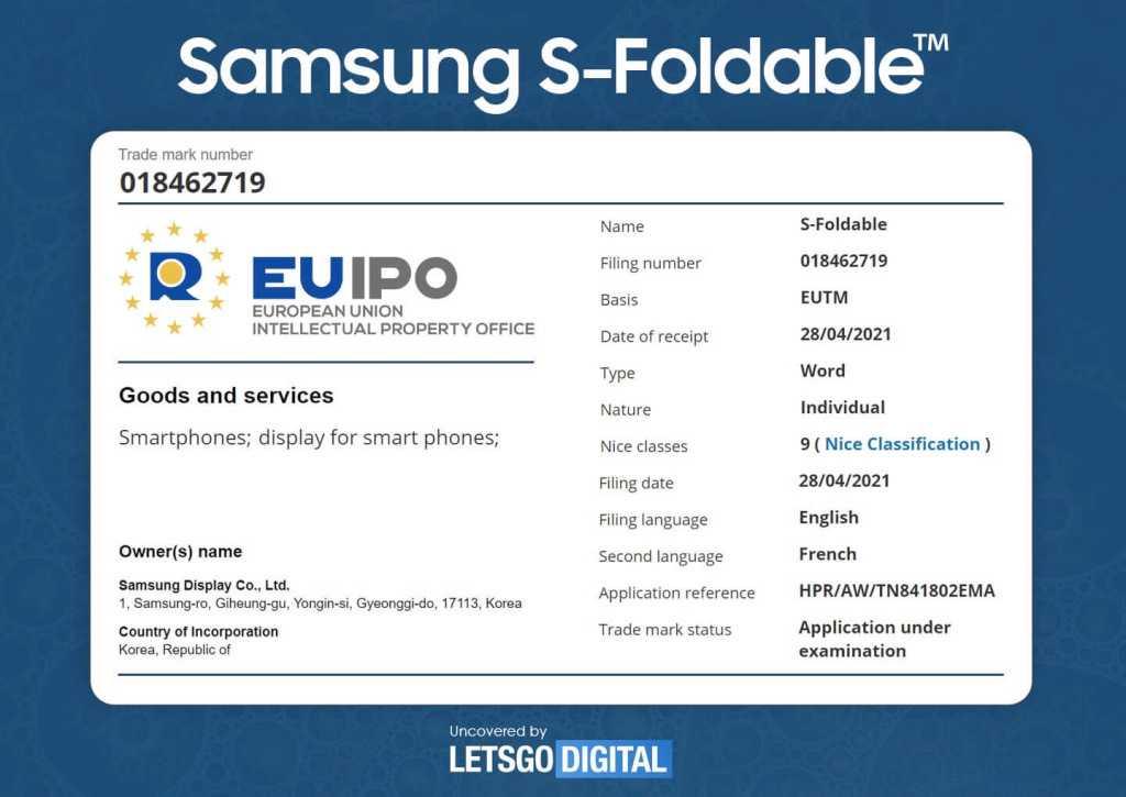 Samsung может работать над новым крутым складным телефоном (samsung s foldable trademark 1)
