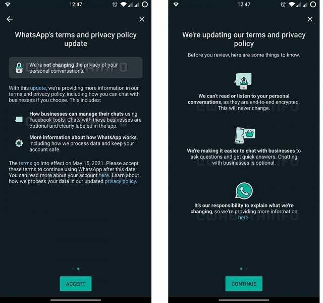 WhatsApp снова просит принять новые условия использования мессенджера (wa tos alert2 android)