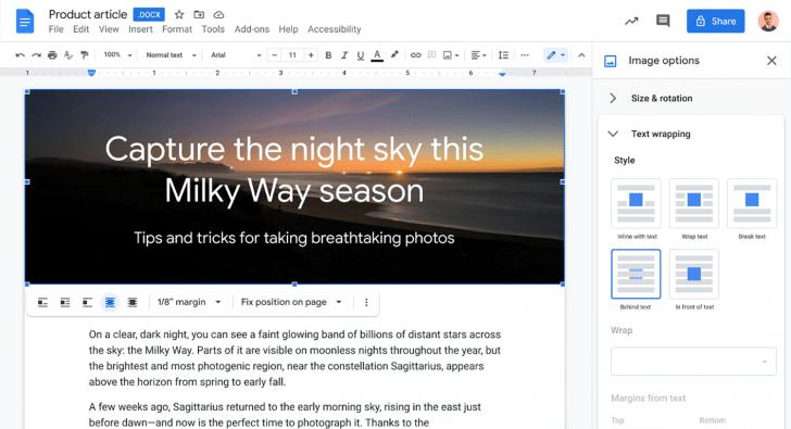 В Google Docs появится возможность размещать изображения перед текстом или под ним (ap resize 1)