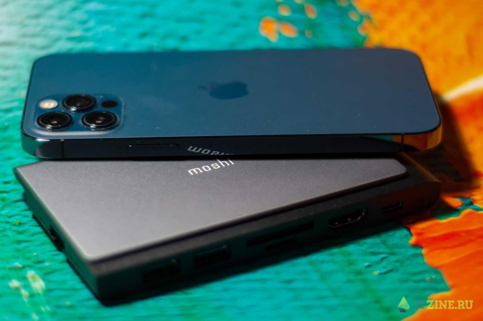 Сравнение размеров хаба Moshi Symbus Mini и iPhone 12 Pro