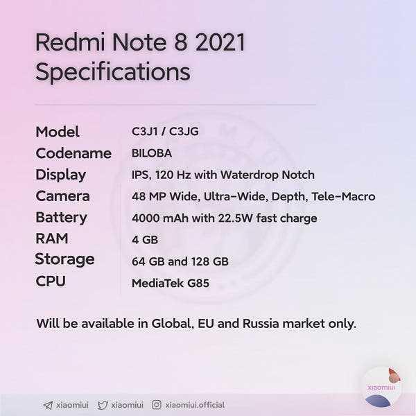 Xiaomi готовит обновлённую версию Redmi Note 8 (redmi note 8 2021 1)