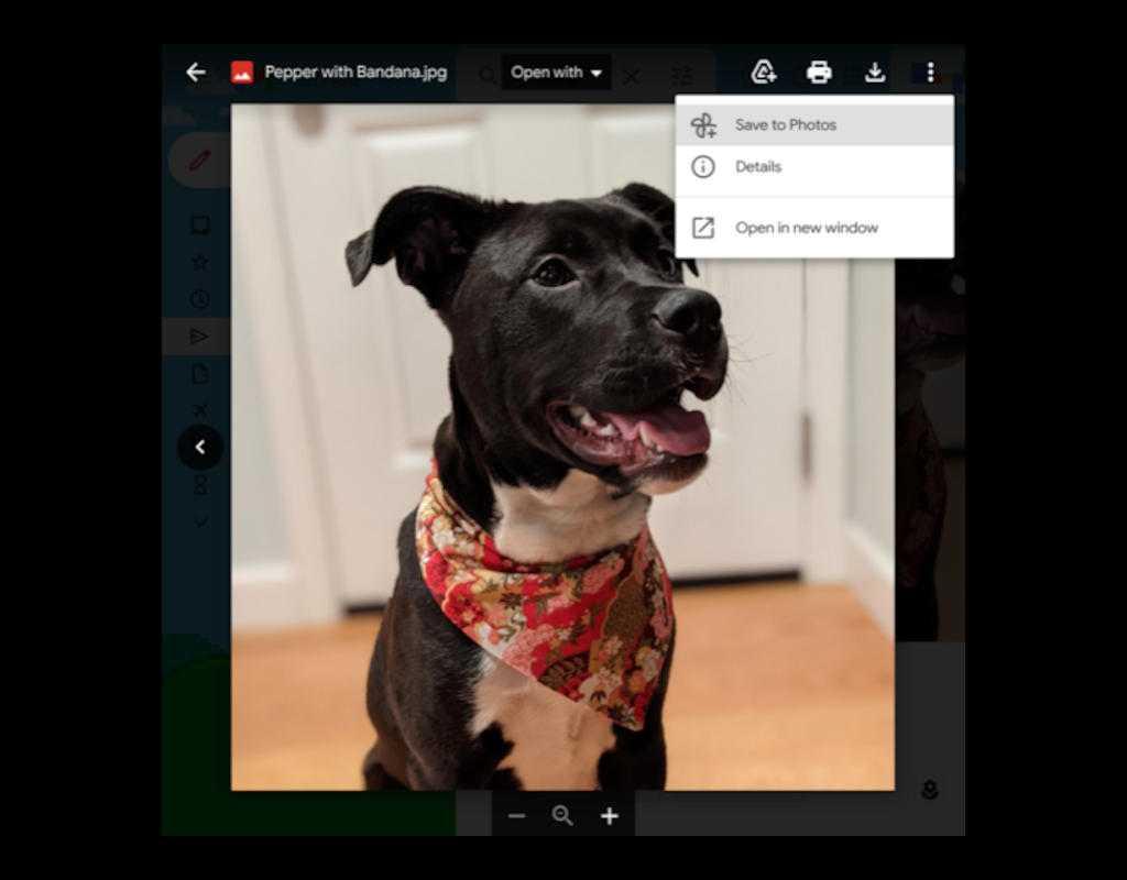В Gmail теперь может сохранять фотографии напрямую в Google Фото (usesavetophotosoptionpreviewingimageingmail)