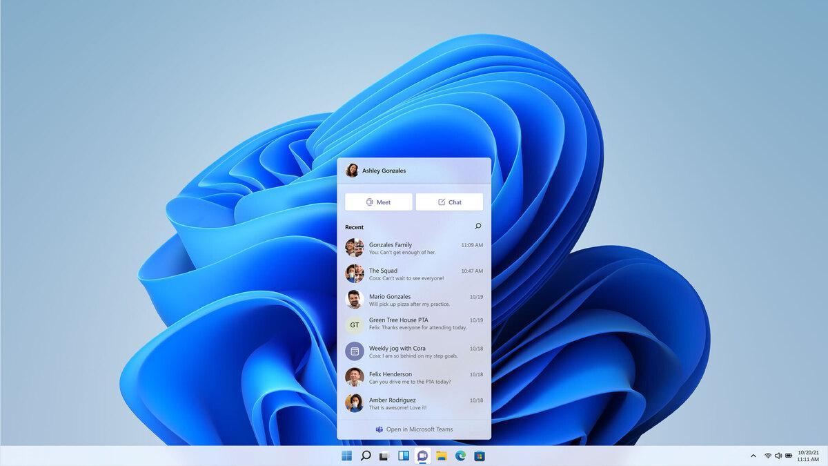7 новых функций Windows 11, которых мы не ожидали (teams chat windows 11 100893469 large)