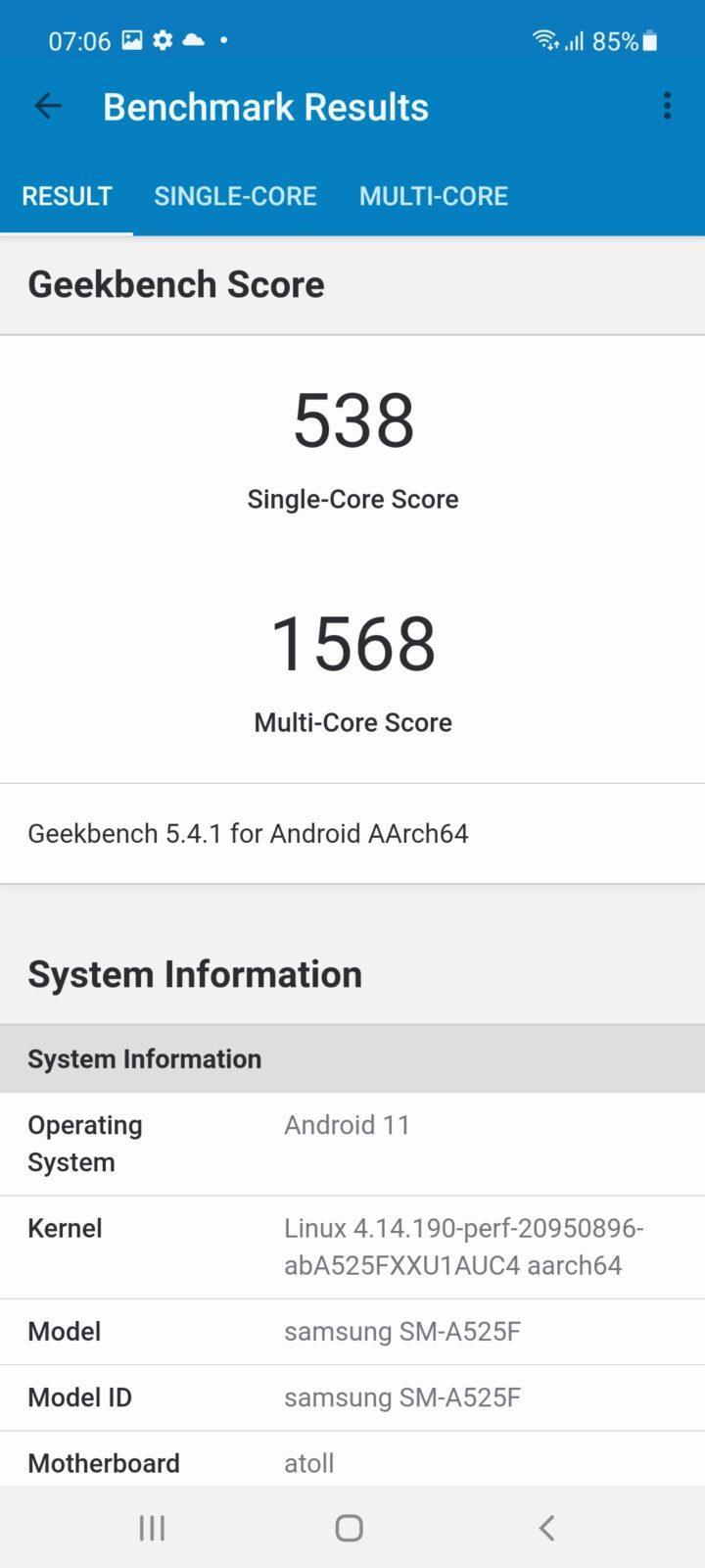 Обзор Samsung Galaxy A52: красивый, мощный и недорогой смартфон (screenshot 20210503 070601 geekbench 5)