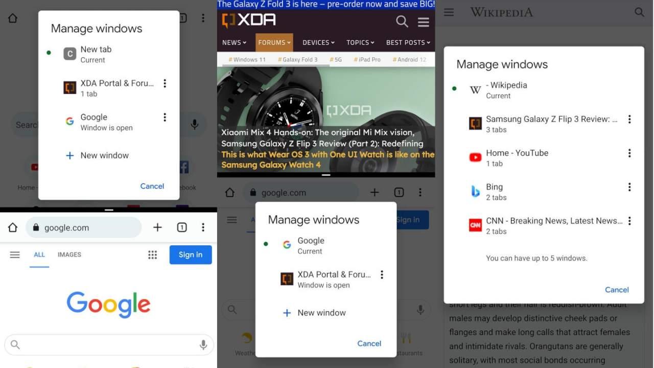 Chrome на Android 12 будет поддерживать несколько окон (google chrome android 12 multi instance 1280x720 1)