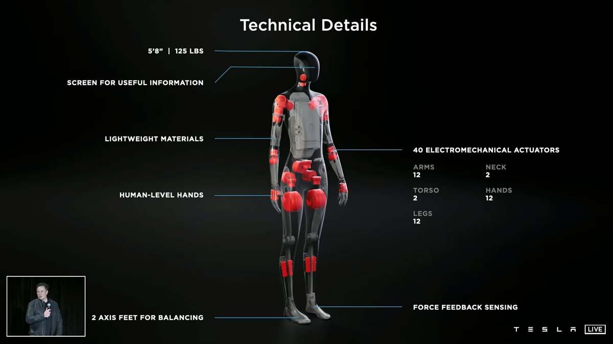 Илон Маск представил робота-гуманоида Tesla Bot с искусственным интеллектом Tesla (teslabot)
