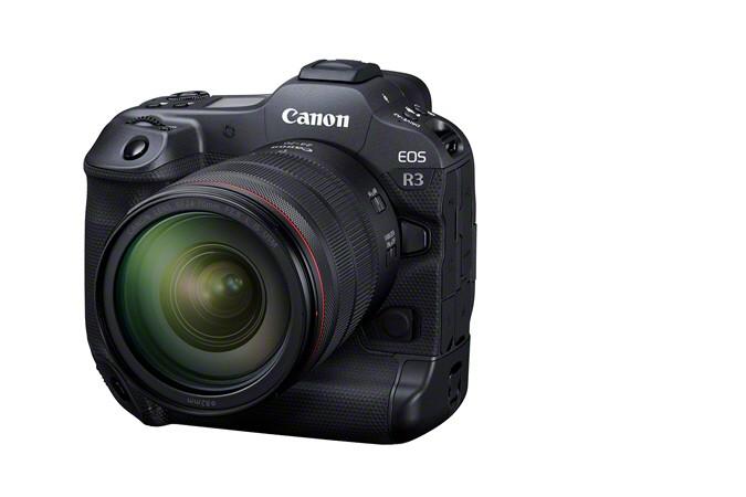 Canon выпустила высокоскоростную камеру Canon EOS R3 для съемки репортажей и спортивных событий (APOLLO FrontSlantLeft RF24 70mmF2.8LISUSM Cover)