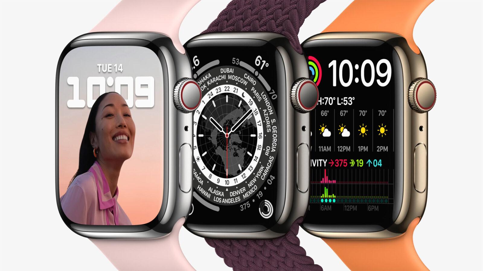 Apple выпустила Apple Watch series 7, самые прочные часы (Apple watch series7 lineup 01 09142021)