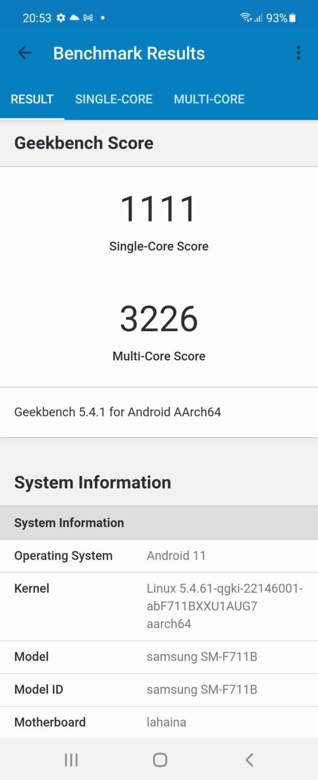 Обзор Samsung Galaxy Z Flip 3: складной смартфон для стильных (Screenshot 20210914 205340 Geekbench 5 scaled)