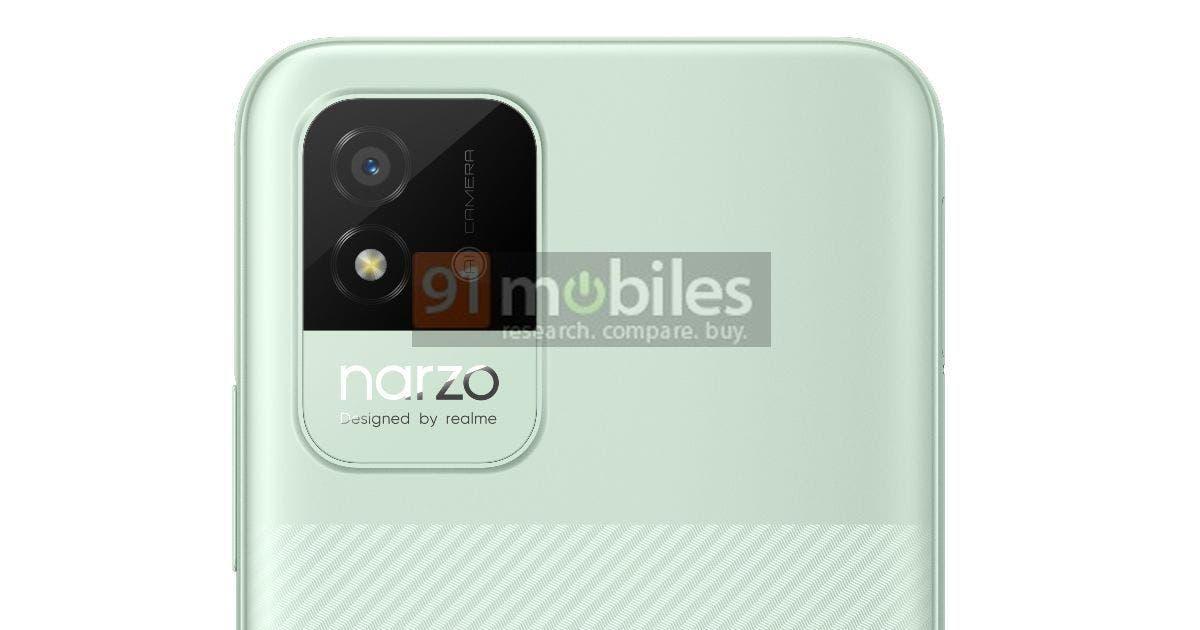 В сеть слили дизайн смартфона Realme Narzo 50i (realme narzo 50i render feat 2)