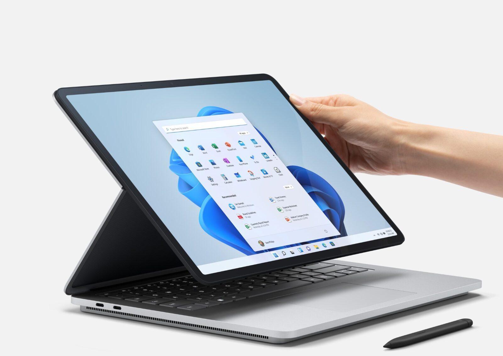 Surface Laptop Studio - новый мощный флагманский ноутбук Microsoft (surface laptop studio adjusting under embargo until september 22)